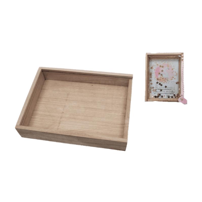 Ξύλινο κουτί με πλεξιγκλάς 17x13cm