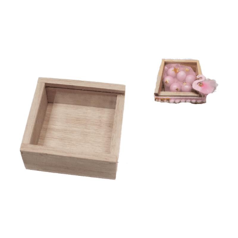 Ξύλινο κουτί με πλεξιγκλάς 7cm