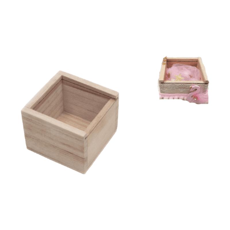 Ξύλινο κουτί με πλέξιγκλας 6,5cm